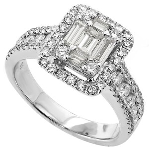 ABC Jewelry One Ladies Ring Containing 5 Tapered Cut Diamonds Weighing .52 Carats And 78 Round Cut Diamonds Weighing .90