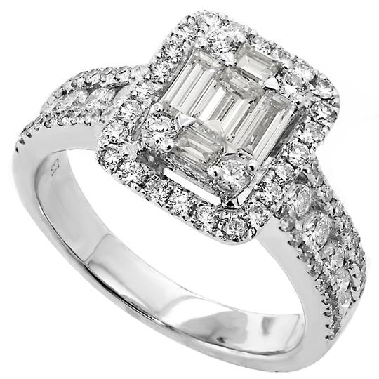 ABC Jewelry White One Ladies Containing 5 Tapered Cut Diamonds Weighing .52 Carats and 78 Round Cut Diamonds Weighing .90 Engagement Ring
