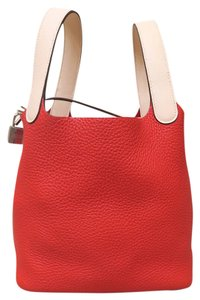 Herms Like New Lock Picotin 2016 Tote in red