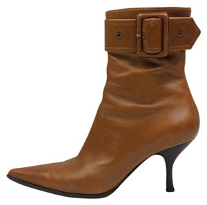 Sergio Rossi Pointed Toe Leather Tan Boots