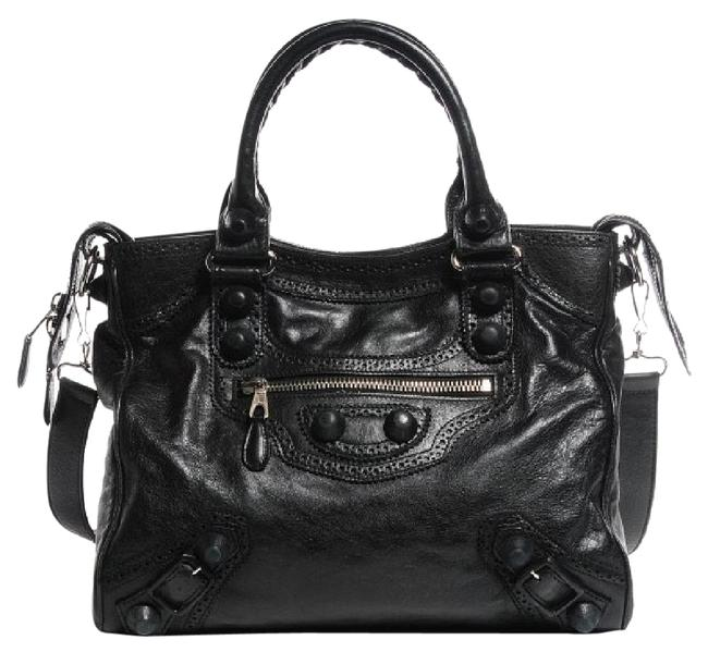 Item - Giant Brogues Velo Black and Silver Leather Cross Body Bag