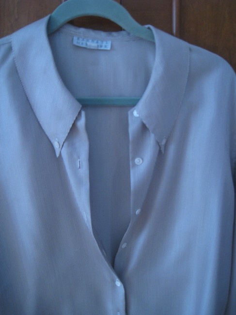 Barneys New York Button Down Shirt White and brown