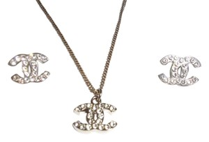 Chanel Chanel Silver Classic Crystal CC Logo Earrings & Necklace Set