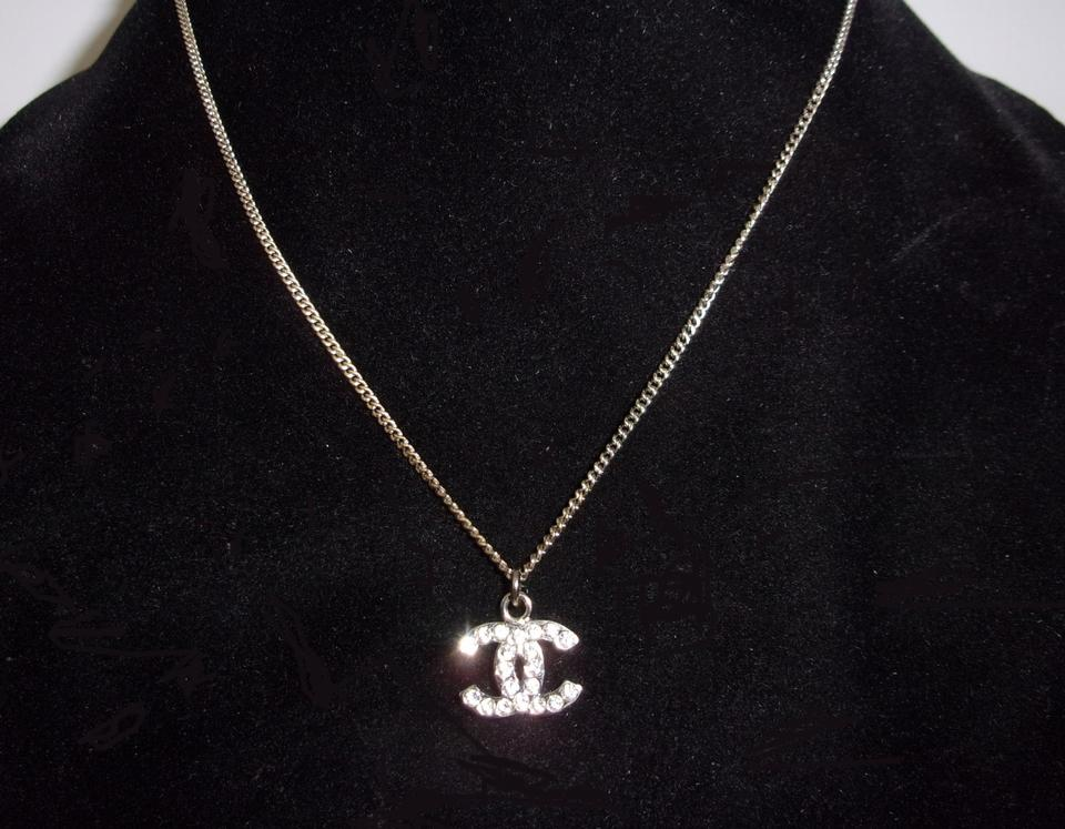 Chanel Silver Clic Crystal Cc Logo Earrings Necklace Set 12345678910