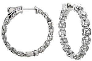 ABC Jewelry One pair of 24 millimeter diamond hoops set in 18 karat white gold 1.15 ct TW