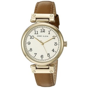 Anne Klein Anne Klein Womens 36mm Ak2252 Easyread Gold-tone And Dark Tan Leather Strap
