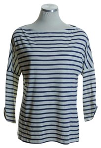 Trina Turk Knit Stretchy Dolman T Shirt Blue Ivory