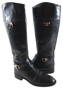 Tory Burch Riding Leather Side Zip Closure Made In Brazil Gold T Logo Black Boots