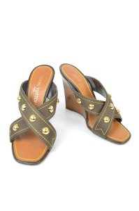 Louis Vuitton Lv Monogram Mules Mules Wedges Brown Olive Sandals