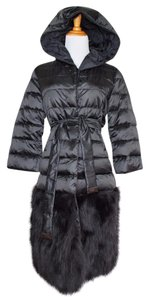 Max Mara Puffer Fur Down Winter Hooded Coat