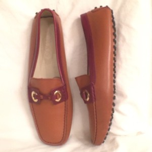 Tod's Leather Slip Ons Burnt Orange/Red W/Gold Hardware Flats