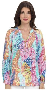 Lilly Pulitzer Woven Silk Printed Long Sleeve Top Multicolor