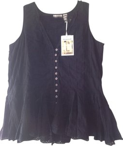 Whitewash Cotton Pin Tucks Peplum Romantic Eyelet Top Black