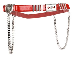 Versace New Versace Red Leather Belt with Chains