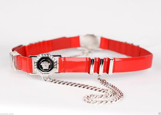 Versace New Versace Red Leather Belt with Chains Image 1