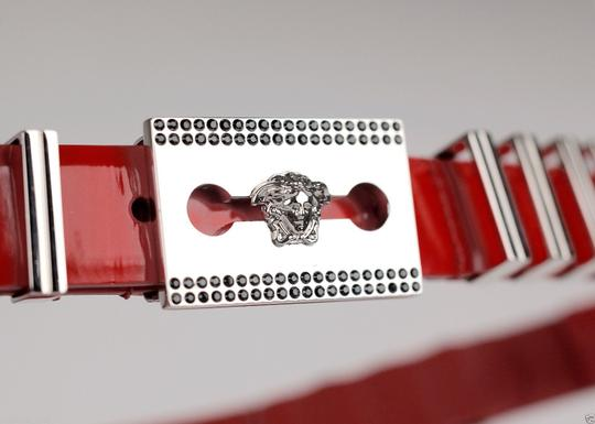 Versace New Versace Red Leather Belt with Chains Image 2