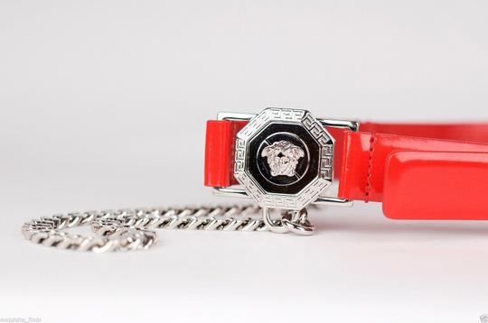 Versace New Versace Red Leather Belt with Chains Image 4