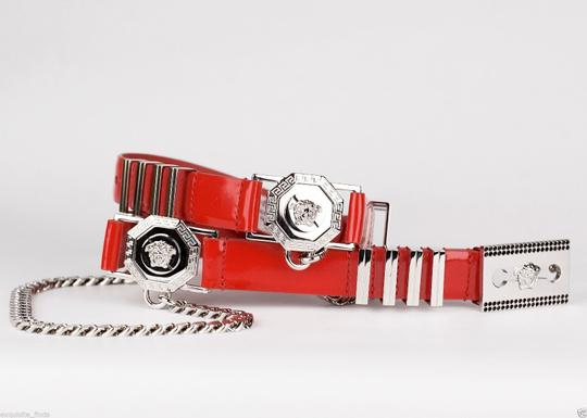 Versace New Versace Red Leather Belt with Chains Image 5