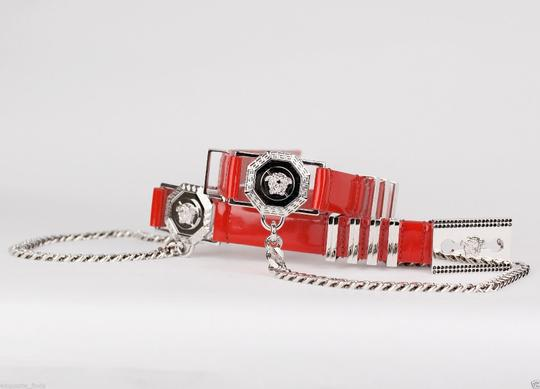 Versace New Versace Red Leather Belt with Chains Image 6