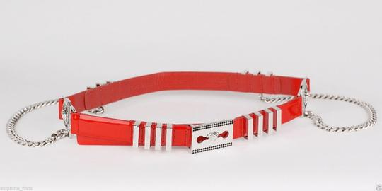 Versace New Versace Red Leather Belt with Chains Image 7