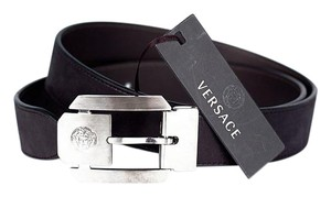 Versace New Versace Black Leather Belt with Metal buckle