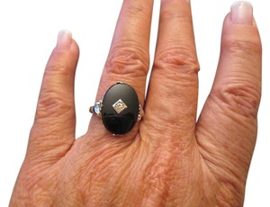 Vintage Sterling Vintage Genuine Black ONYX & Sterling ring with CZ>new old stock