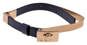 Versace New Versace Gold Chain Link & Black Leather Belt