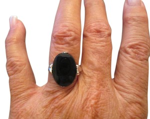 Sterling Vintage Genuine Black ONYX & STERLING ring >1950's Vintage>new old stock