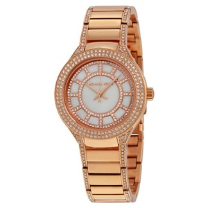 Michael Kors Rose Gold Crystal pave Bezel Stainless Steel Designer Watch