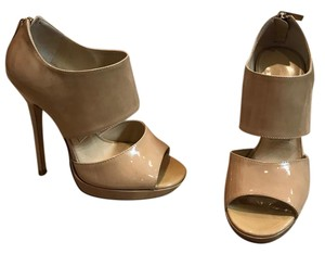 Jimmy Choo No Longer Available Classic Patent Leather Nude Platforms