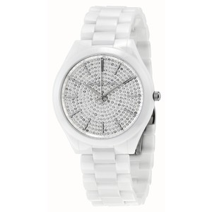 Michael Kors White Ceramic with Silver Crystal Pave Dial Luxury Designer Watch