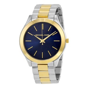 Michael Kors Navy Blue Two Tone Silver Gold Stainless Steel Designer Watch