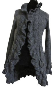 Debbie Morgan Ruffle Cardigan Jacket Belted Heather Sweater
