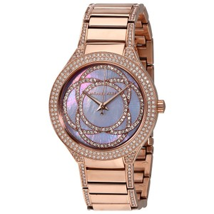 Michael Kors Crsytal Pave Purple Dial Rose gold Designer Luxury Watch