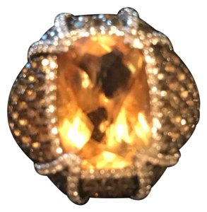 Zales Topaz Zirconia And Citrine Fabulous Sterling Ring