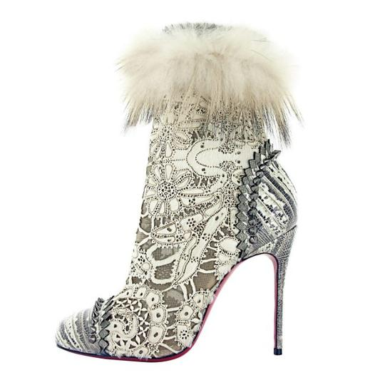 Christian Louboutin Laser Cut Studded Leather ivory Boots