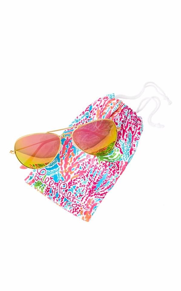 882ef2b0ba5 Lilly Pulitzer Lexy Aviator Polarized Tropical Pink Shellabrate Sunglasses  Image 0 ...