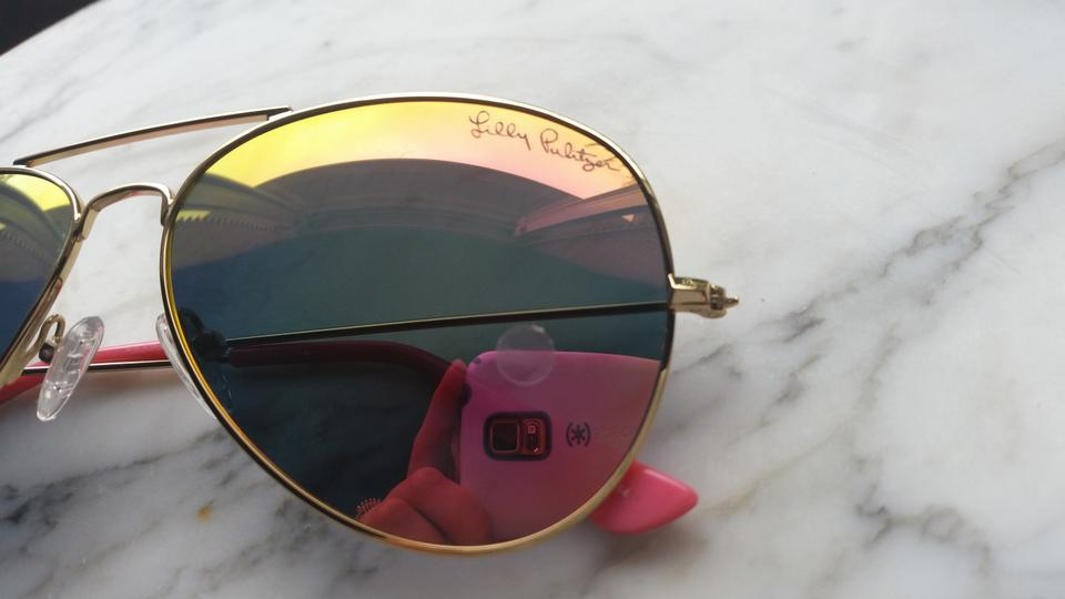 3d009f26b41 Lilly Pulitzer Tropical Pink Shellabrate Lexy Aviator Polarized Sunglasses
