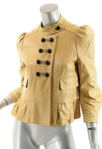 Hanii Y Leather Peplum Golden Beige Leather Jacket