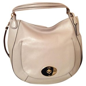 Coach Smooth Leather Grey Birch Crossbody Hobo Bag
