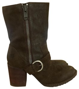 Børn Leather Buckle Motorcycle Suede Olive Boots