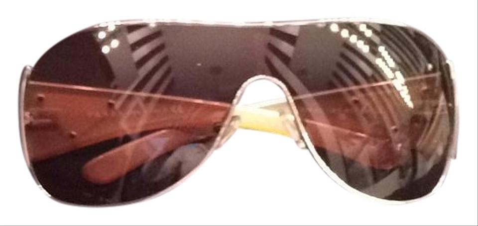 f73a9ae29df Prada Brown Gold Wrap Around Sunglasses - Tradesy