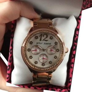 Betsey Johnson New Betsey Johnson BJ00474-03 Lady's Blush Rose Golf MOP Dial Day Date Watch
