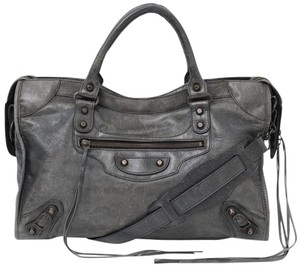 Balenciaga Moto Leather Classic City Satchel in Gray