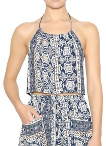 Honey Punch Blue Halter Top