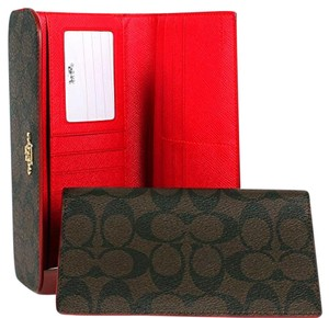 Coach uthentic Coach Signature PVC Checkbook Tri-fold Wallet Color; Brown/True Red style; F52681