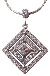 Other 1.11 CTw RD & PC Diamond Pyramid Pendant and Chain, 14KT WG