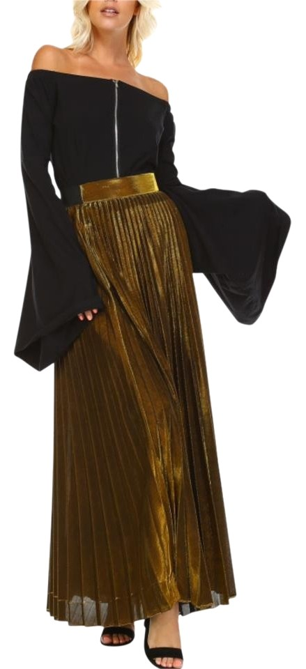 ecd8f2bcee TOV Holy Gold Metallic Plated Pleated Skirt Size 14 (L, 34) - Tradesy