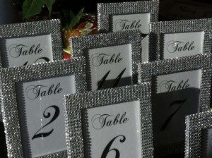 Silver Set Of (10) 5 X 7 Frames In Rhinestone and (10) Table Numbers Reception Decoration