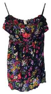 Mimi Chica short dress Black w/ Purple & Pink Flowers Spring Floral Strapless on Tradesy
